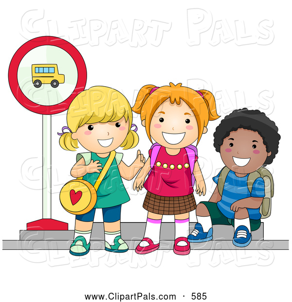 Pal Clipart of Diverse School Kids Waiting at a Bus Stop to Go to.