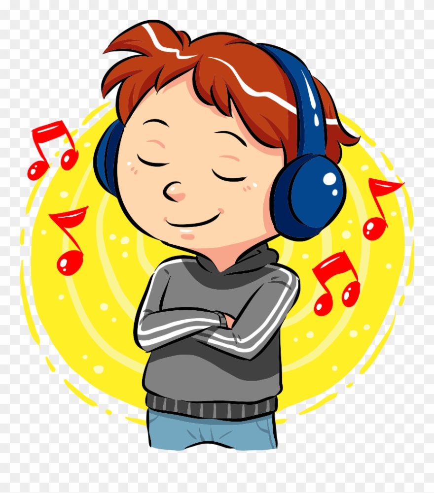 Svg Freeuse Stock Boy Listening To Music Clipart.