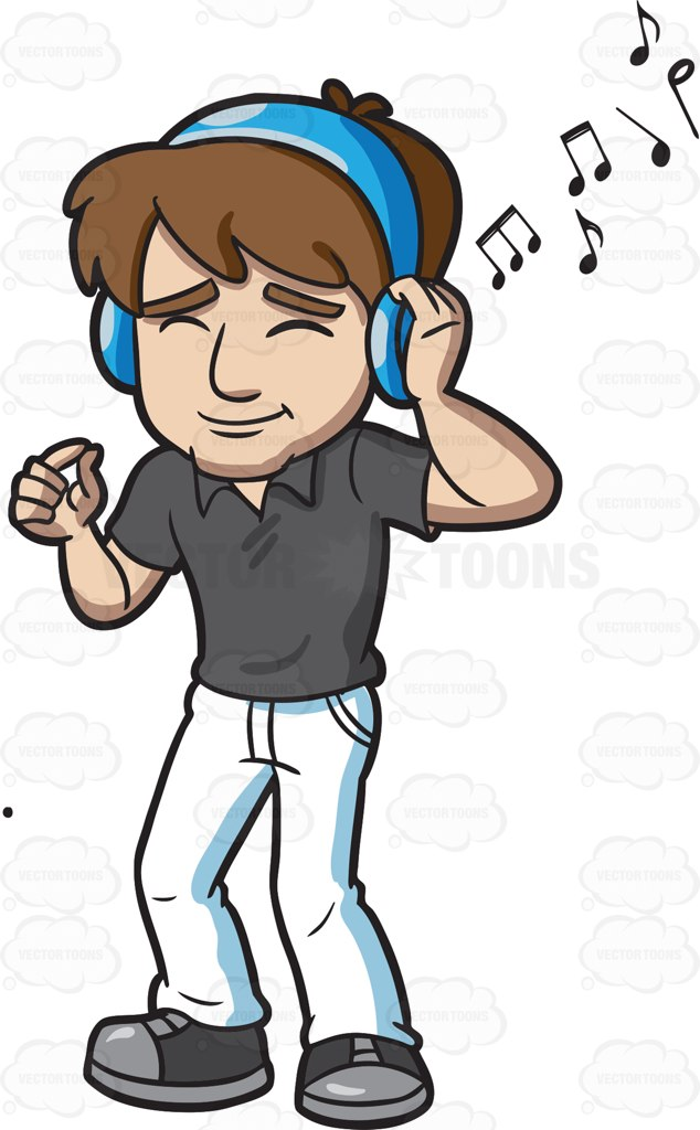 Guy Listening To Music Clipart.