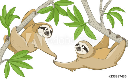 Two smiling animals sloths hang on the branches of trees and.