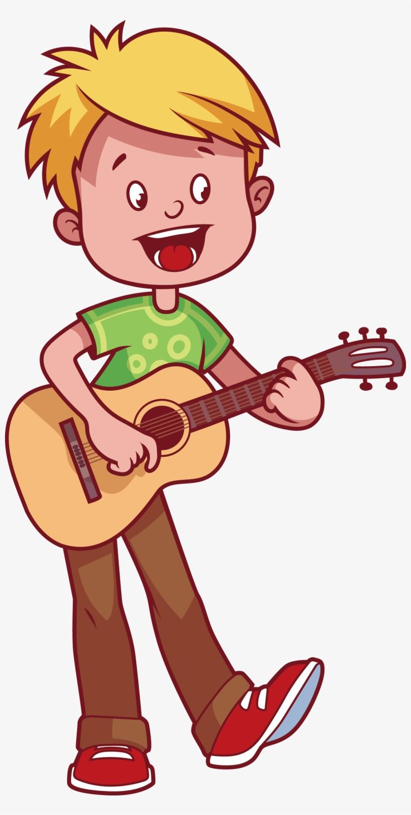 Boy Playing Guitar Clipart.