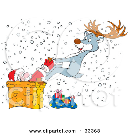 Clipart Illustration of a Reindeer Trying To Pull Santa Out Of A.