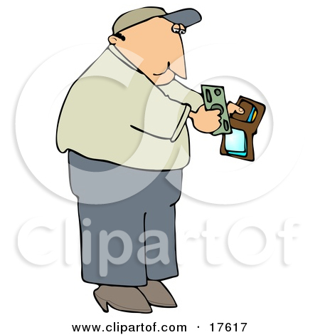 Middle Aged Caucasian Man Holding His Wallet Open To Pull Out Cash.
