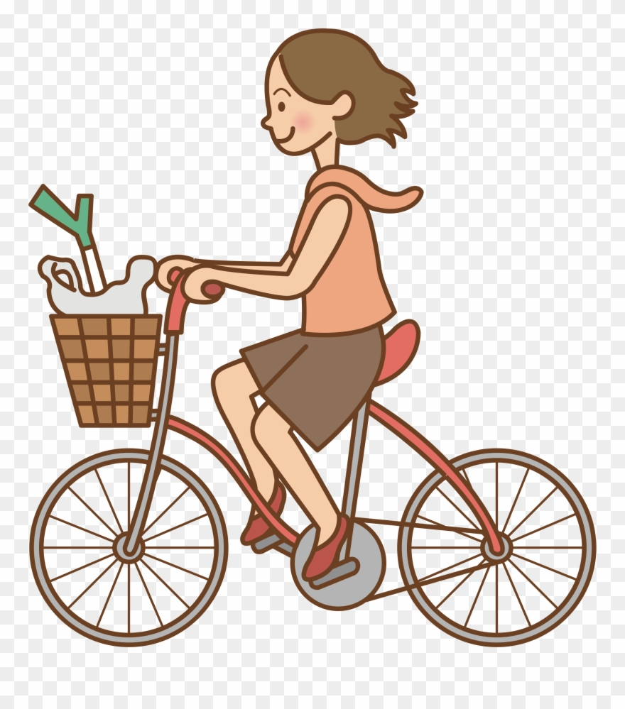 Clipart Transparent Library Woman Bicycle Big Image.