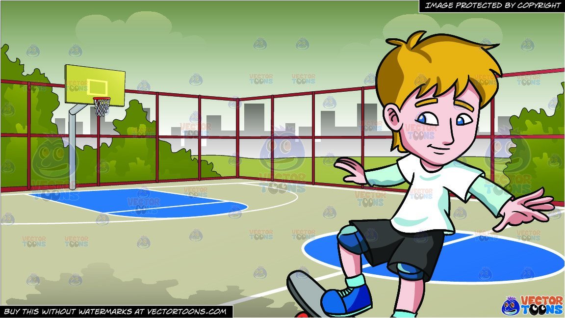 A Teenager Practicing How To Ride A Skateboard and Outdoor Basketball Court  Background.