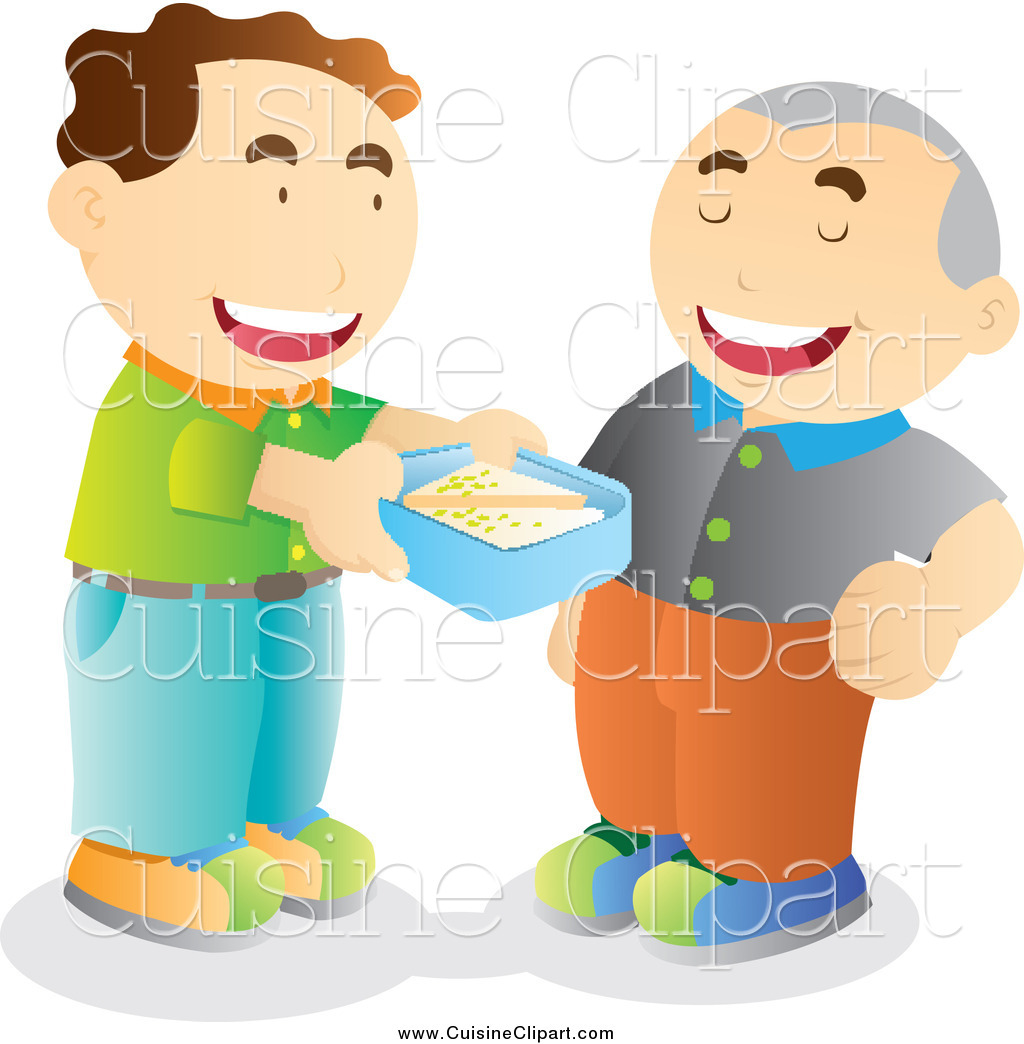 Cuisine Clipart of a Man Offering to Share His Lunch with a.