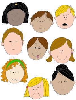 Kids in Action: Faces 1 Clip Art 18 pngs to Show Feelings and Emotions.