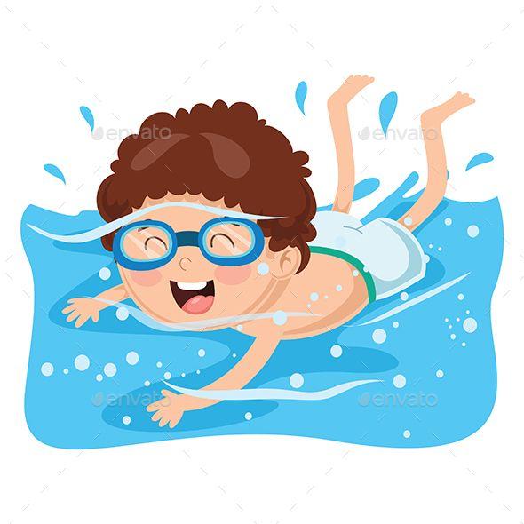 Vector Illustration of Kid Swimming #Illustration, #Vector.