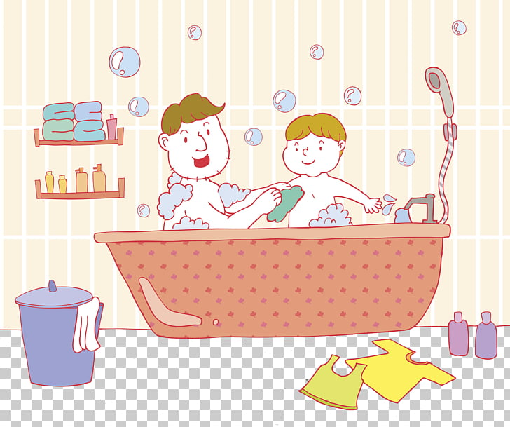 Bathing Bathtub Shower, Father and son take a bath together.