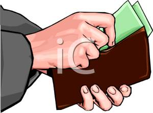Hands Taking Money Out of a Wallet Clipart Image.