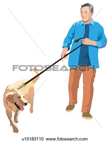Stock Illustrations of Take a Dog Out For a Walk u15183110.