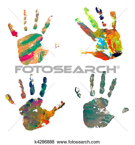 Pictures of hand print color art craft trace paint k4286888.