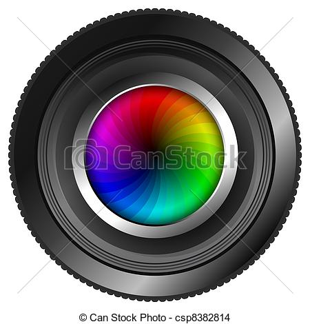 Drawing of Camera Lens with Color Wheel.