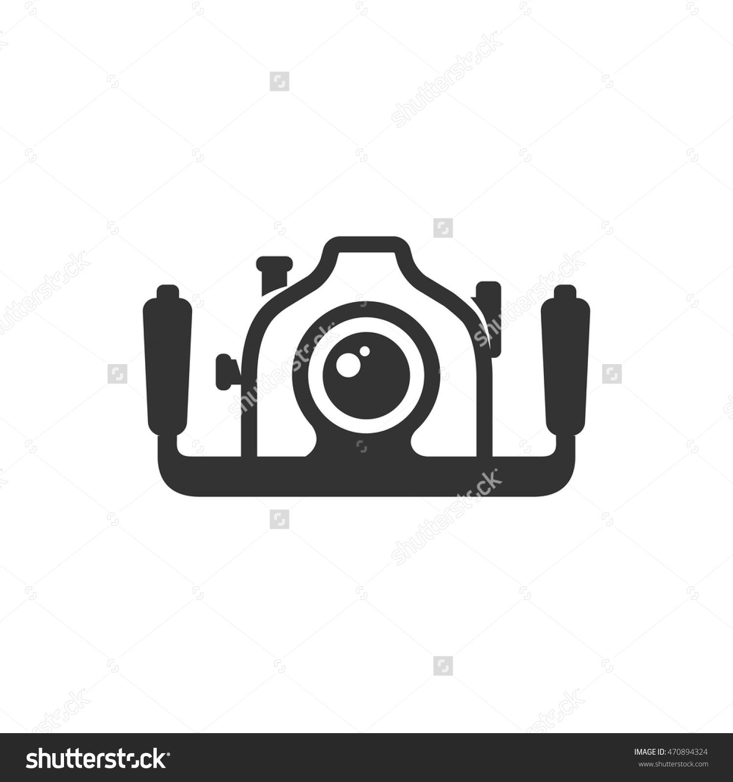 Underwater Camera Icon In Single Color. Photography Sea Water.