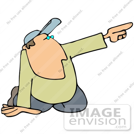 Clip Art Graphic of a Kneeling Guy Pointing Off To The Right.