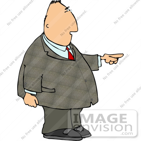 Chubby Business Man Pointing to the Right Clipart.
