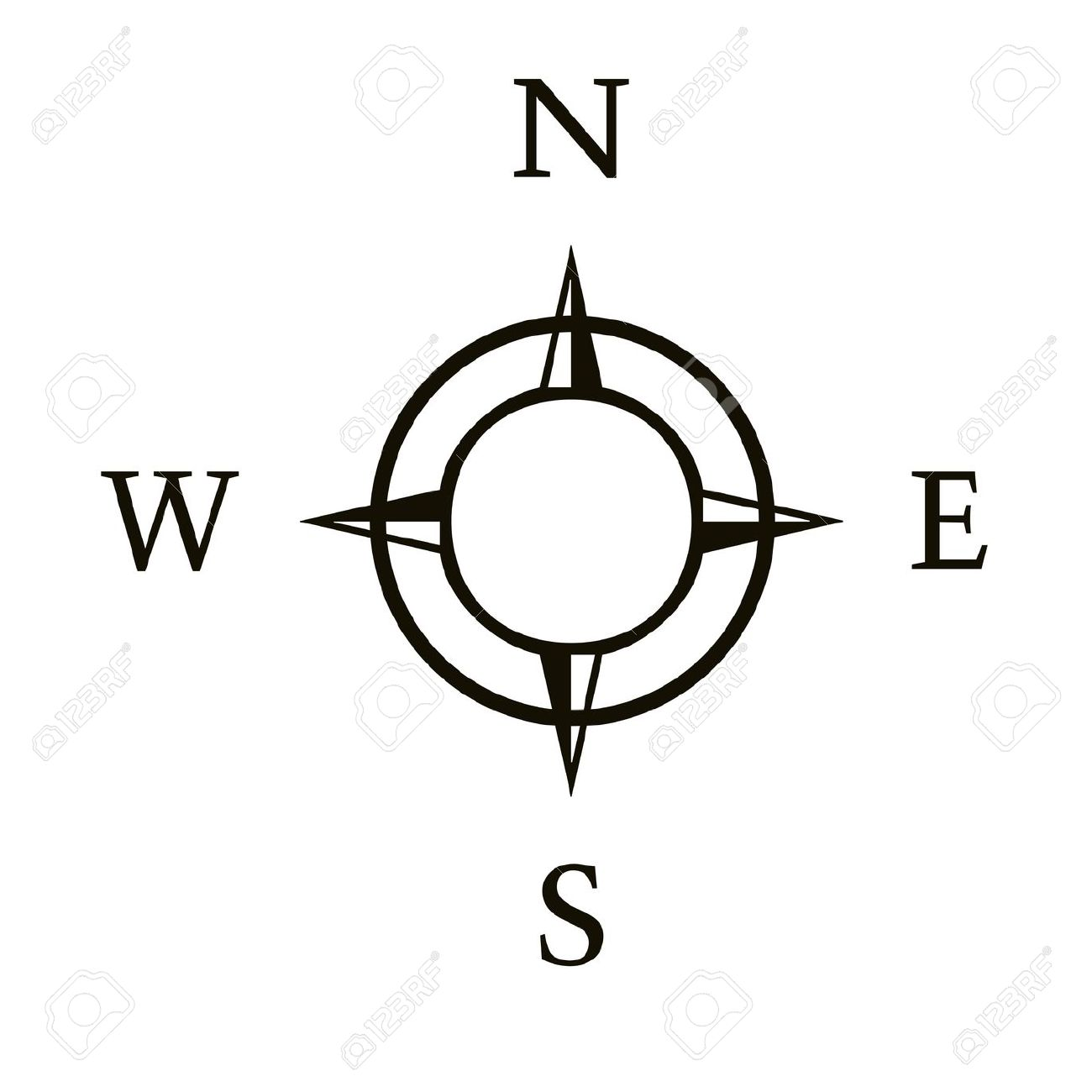 Compass Illustration With North South East West Stock Photo.