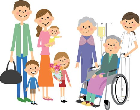 The family who has come to visit a senior citizen Clipart.