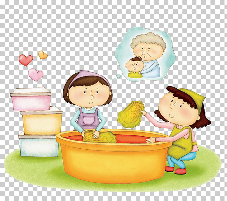 The child to help her mother to wash vegetables PNG clipart.
