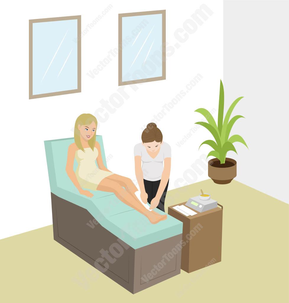 Woman At A Spa Having Her Legs Waxed Cartoon Clipart.