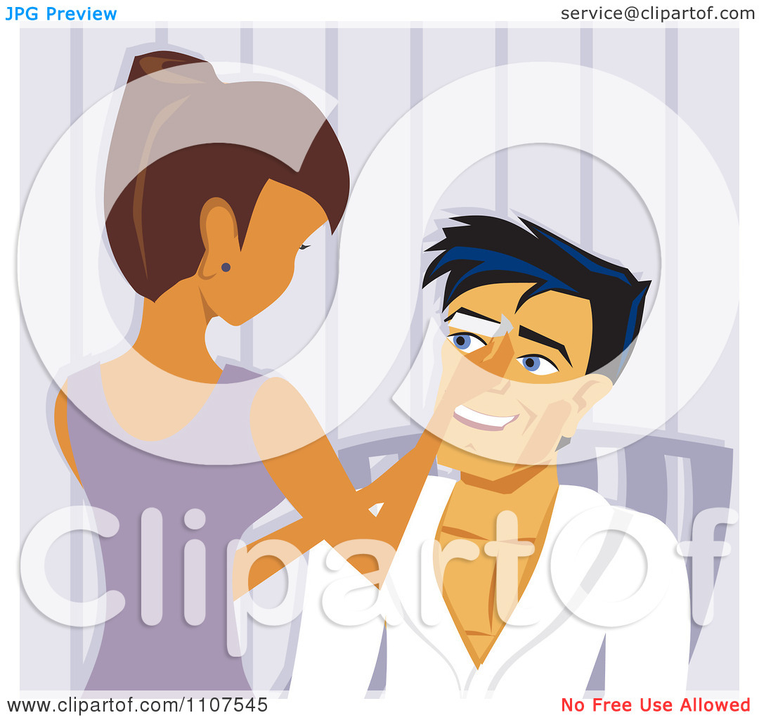 Clipart Woman Waxing A Mans Eyebrows In A Salon.