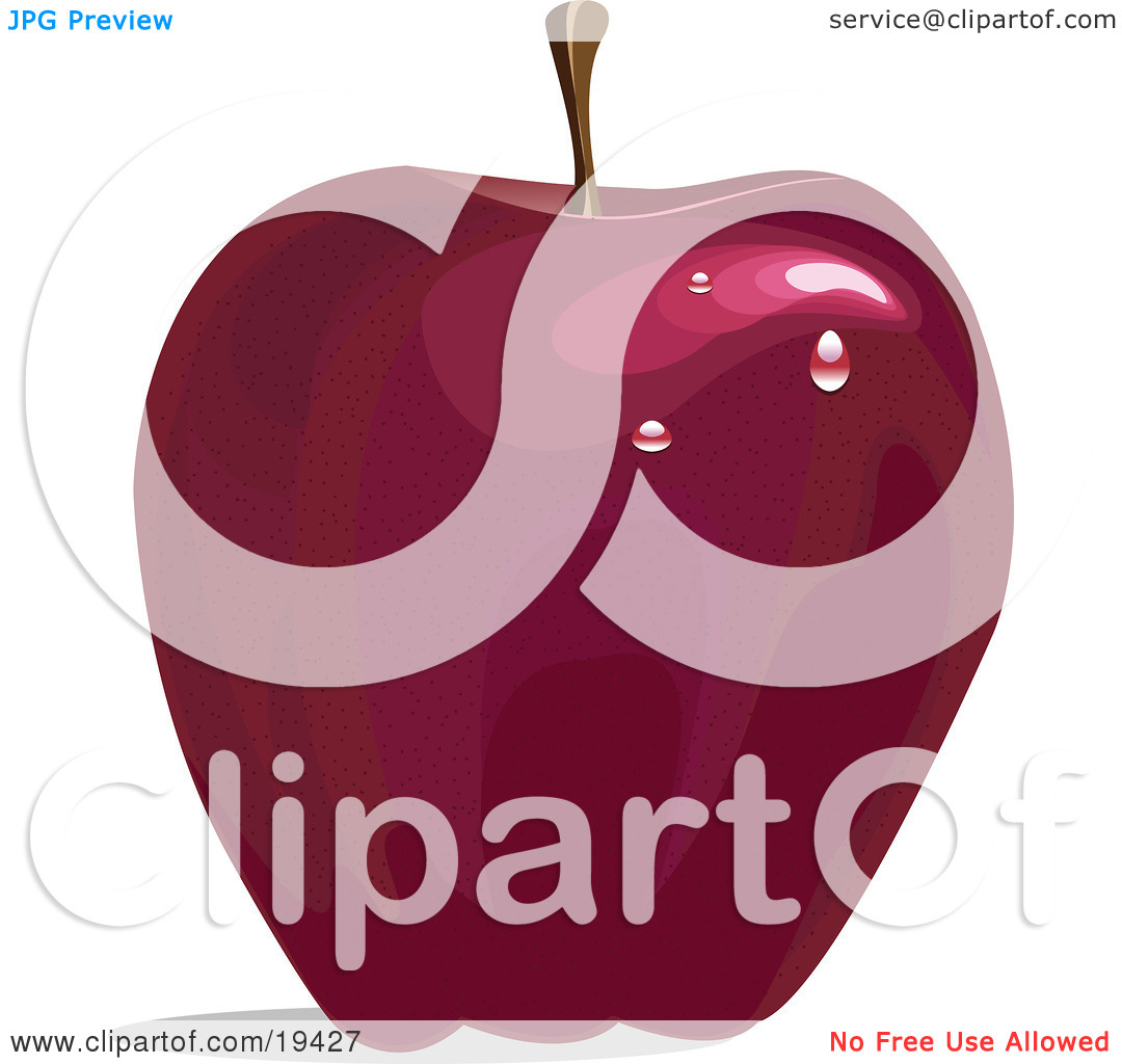 Clipart Illustration of a Ripe And Freshly Waxed Red Delicious.