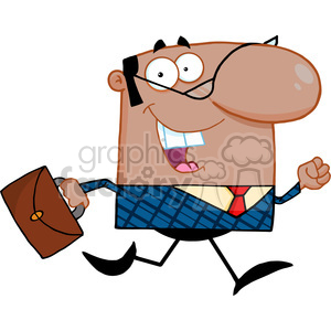Clipart of Lucky African American Business Manager Running To Work With  Briefcase clipart. Royalty.