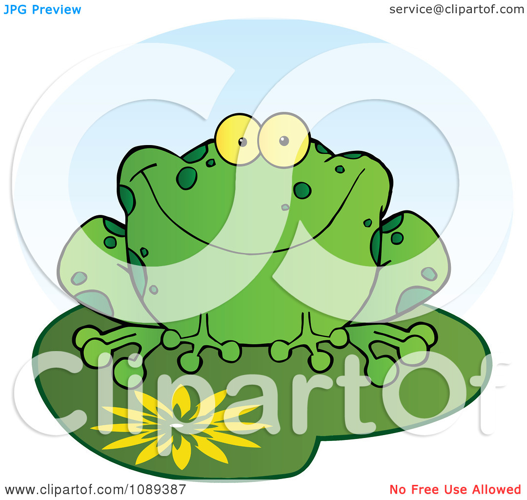 Clipart Happy Spotted Green Toad Smiling On A Lily Pad.