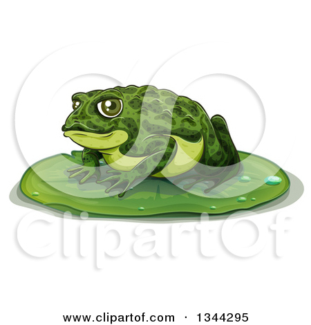 Clipart of a Green Frog Toad on a Lily Pad.