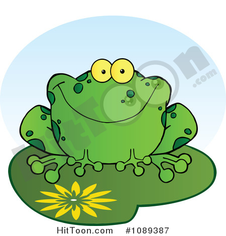 Frog Clipart #1089387: Happy Spotted Green Toad Smiling on a Lily.