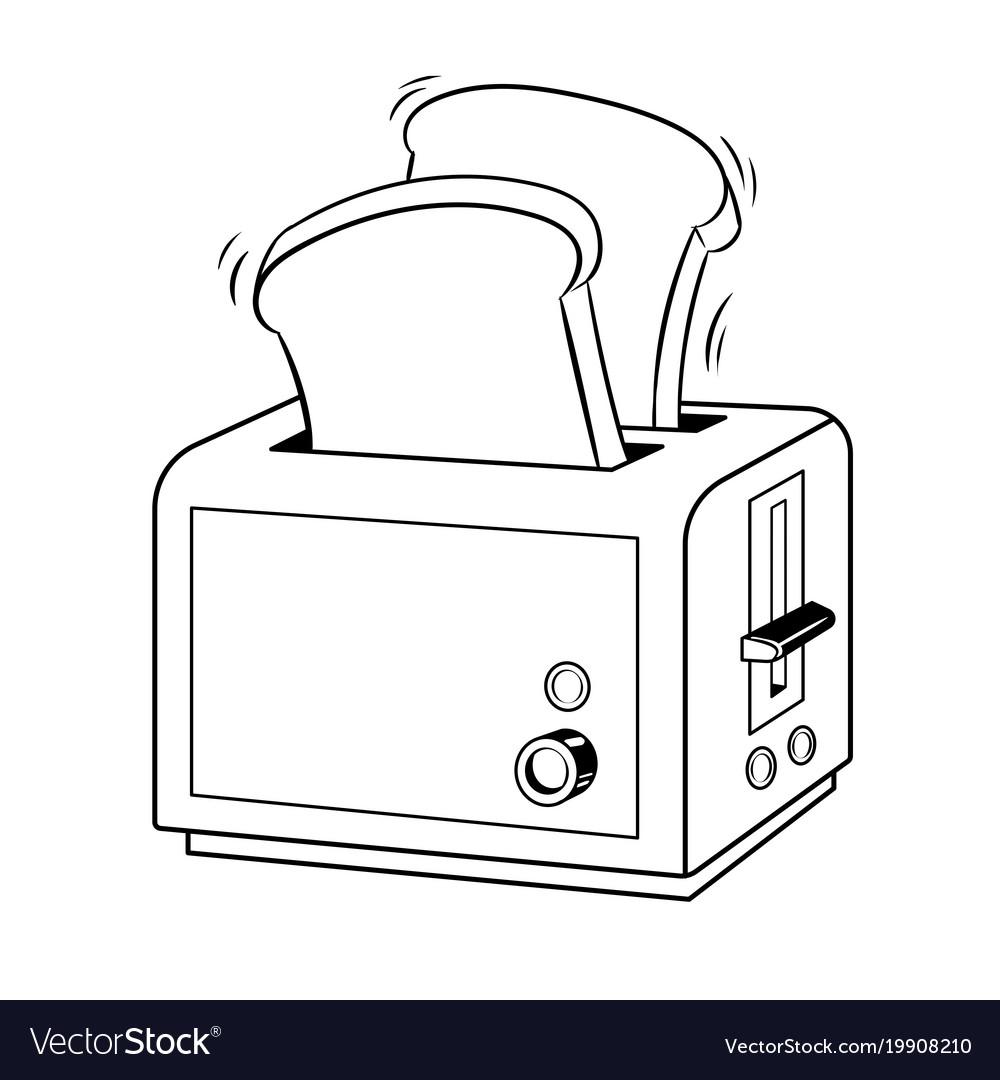 Toaster with toast pop art.