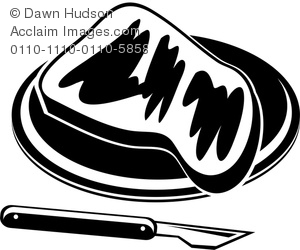 Clip Art Illustration of a Slice of Toast on a Plate in Black and.