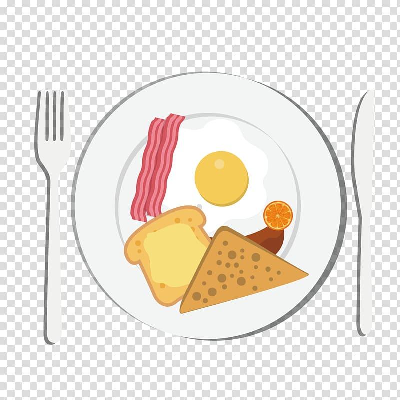 Plate with food illustration, Breakfast Toast Eating Food.