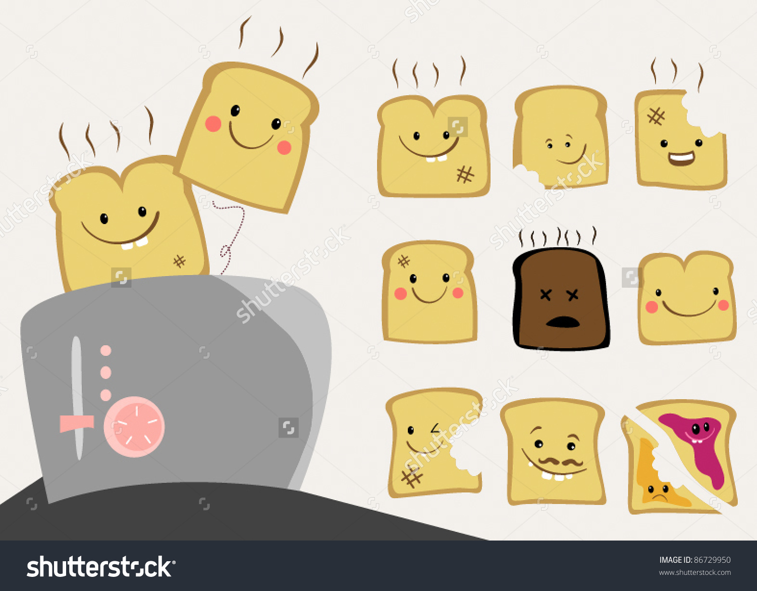 Cute Toast Character Set Stock Vector 86729950.