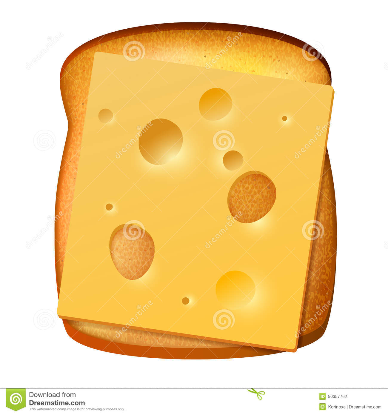 Toasted Bread With Slice Of Cheese Stock Vector.