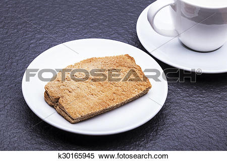 Stock Image of Kaya Toast (Asia Snack) on the white dish and table.