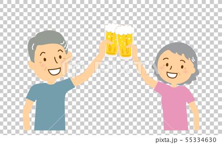 Beer mug toast senior male female.