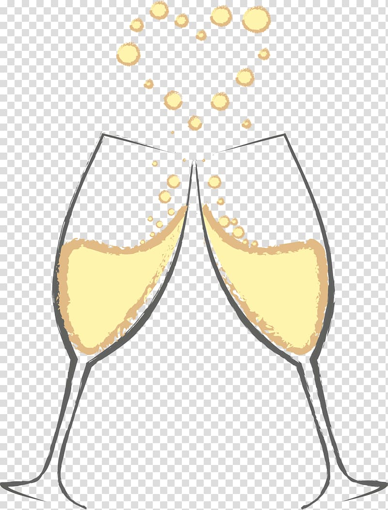 Two wine flutes making a toast, Champagne glass Sparkling.