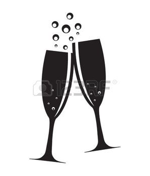 champagne toast: Two Glasses of Champagne Silhouette Vector.