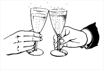 Glasses toasting clipart.