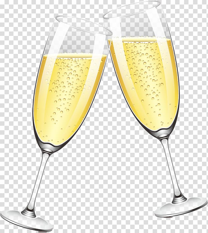 Two champagne glasses illustration, Champagne glass, Two.