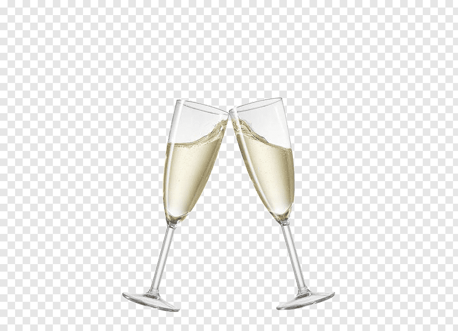 Two clear flute glasses, Prosecco Champagne Sparkling wine.