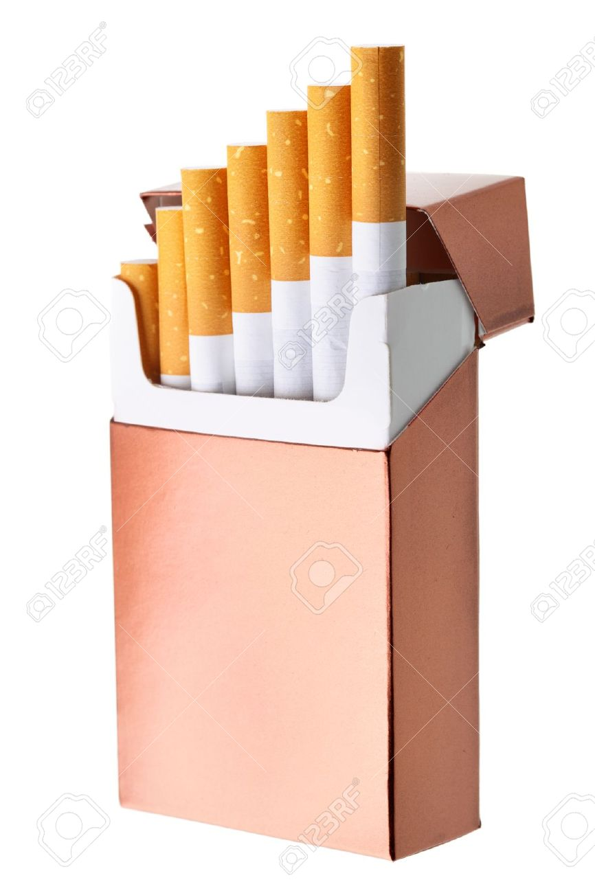 Cigarette Box Isolated Over The White Background Stock Photo.