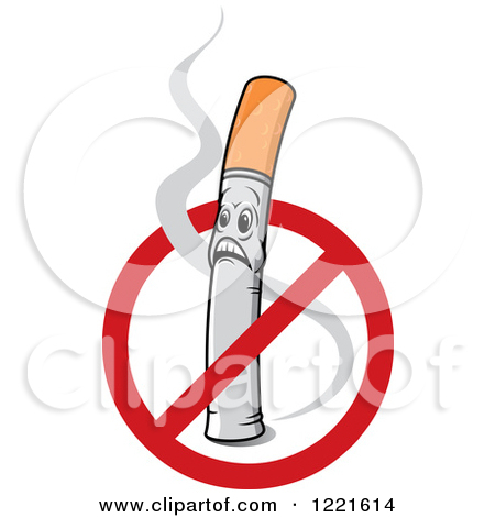 Clipart of a No Smoking Symbol over a Shocked Cigarette Character.