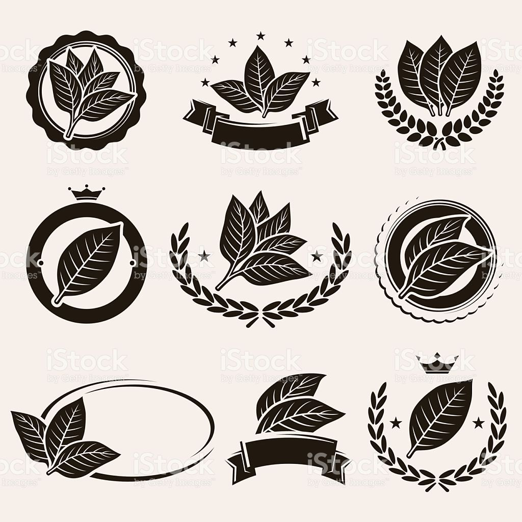 Tobacco leaf label and icons set. Vector royalty.