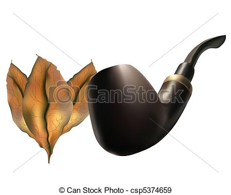 EPS Vectors of Pipe with tobacco leaves on a white background.