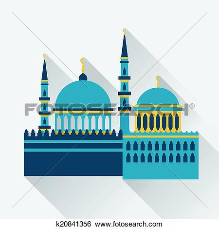Clip Art of Islamic greeting card with mosque in flat design style.