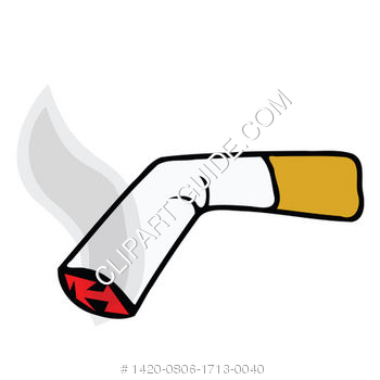 Clipart of Burning Tobacco Cigarette with Brown Filter.