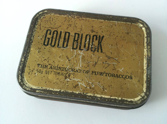 Gold Block Vintage Tobacco Tin by Creativefolk on Etsy.