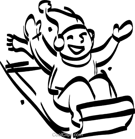 boy sitting on a toboggan Royalty Free Vector Clip Art.